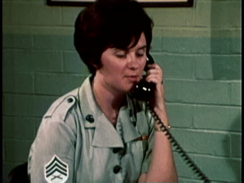 1968 montage military recruitment film with a woman talking on a phone and walking up to man behind desk and handing him paperwork / united states  - military recruit stock videos & royalty-free footage