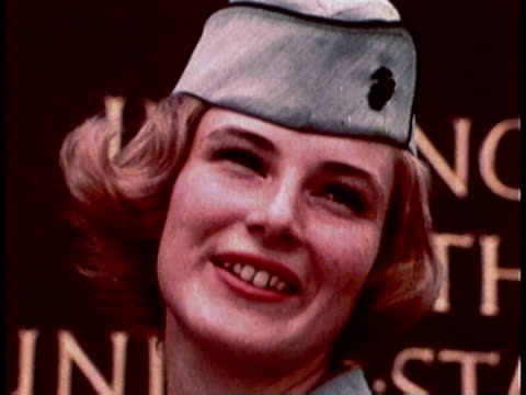 1968 MONTAGE Military recruitment video showing military women and men standing in front of Marine Corps war memorial / Arlington, Virginia, United States
