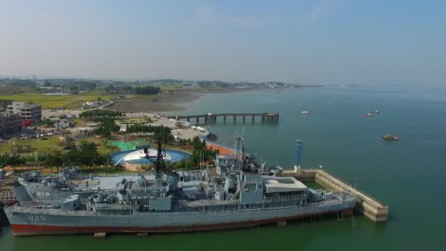 military ships and sapgyoho ocean park / dangjin-si, chungcheongnam-do, south korea - luogo d'interesse locale video stock e b–roll
