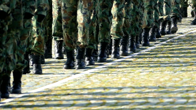 military soldiers marching-slowmotion - army exercise stock videos and b-roll footage