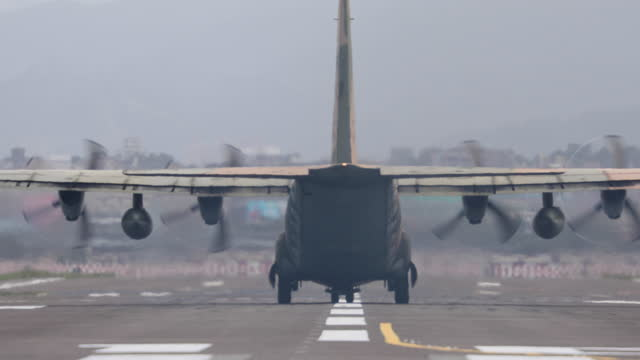 military transport plane take off - army stock videos & royalty-free footage