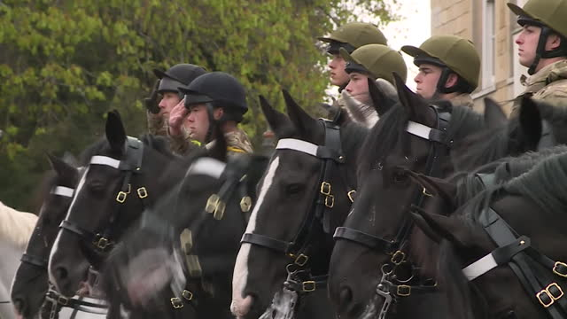 military tribute and salute outside windsor castle following the death of prince philip, duke of edinburgh - hooved animal stock videos & royalty-free footage