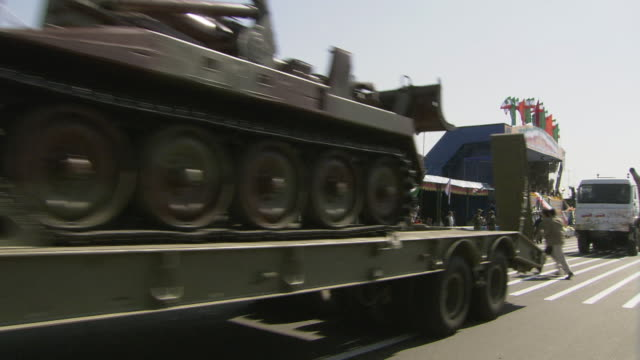 ws pan military trucks including rocket launchers and artillery passing for official parade / tehran, tehran province, iran  - iran stock videos & royalty-free footage