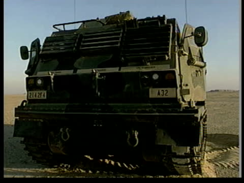 us military vehicle towards and past ms more ditto track beside us truck ms multilaunch rocket vehicle ms ditto as back rises ready for launch ms... - kuwait stock videos and b-roll footage