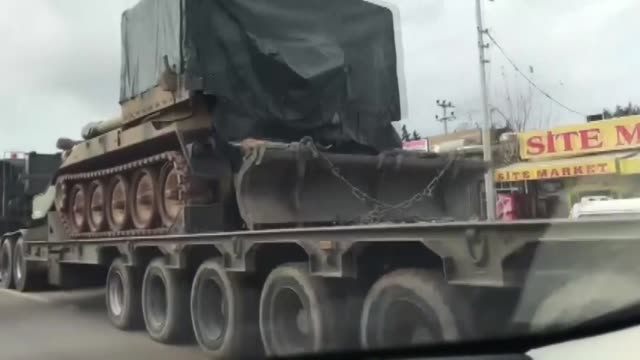 military vehicles belonging to the turkish army on their way to syrian border in turkey's southeastern mardin province on january 02 2019 as part of... - 可能点の映像素材/bロール