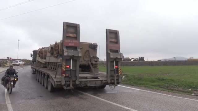 military vehicles belonging to the turkish army on their way to syrian border in turkey's southeastern kilis province on january 03 2019 as part of... - 可能点の映像素材/bロール