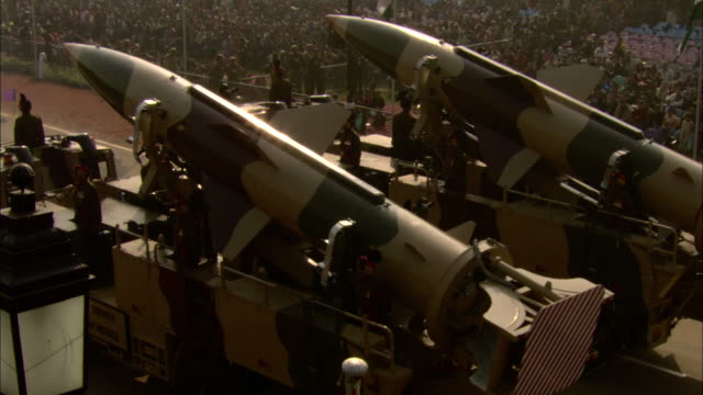 military vehicles display large missiles during the india republic day parade. - india politics stock videos & royalty-free footage