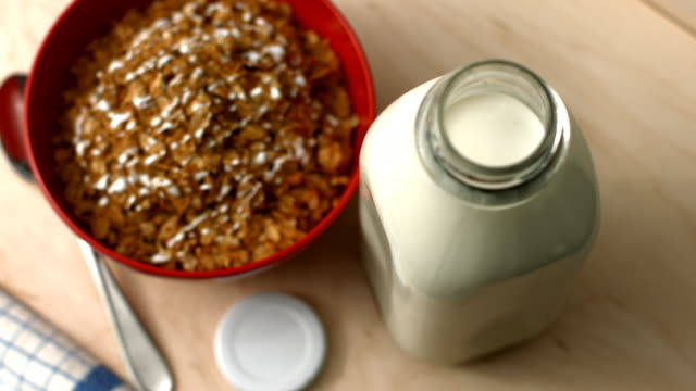 milk and cereal - milk bottle stock videos & royalty-free footage