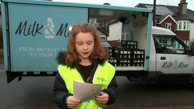 milk and more arrange for young girl to spend day with milkman after she writes letter to him thanking him london uk sam seary pressing horn of milk... - milkman stock videos & royalty-free footage