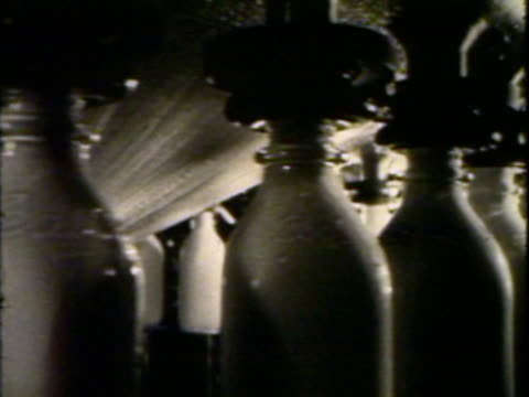 Milk bottles being filled and crated on conveyor belt
