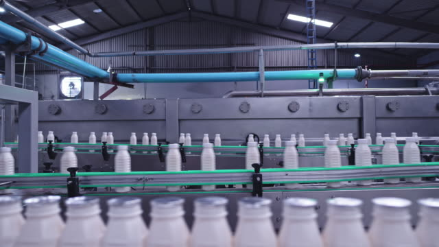 milk bottles making journey to the packaging sections at a dairy factory - packaging stock videos & royalty-free footage