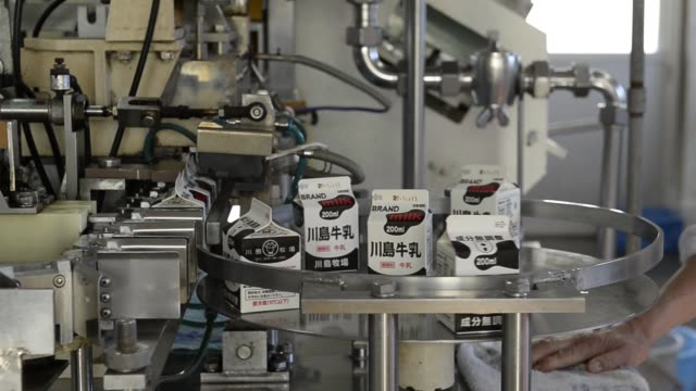 milk cartons move along a production line of a kawashima dairy farm in chiyoda gunma prefecture japan on wednesday dec 3 milk cartons are packed in a... - milk box stock videos & royalty-free footage