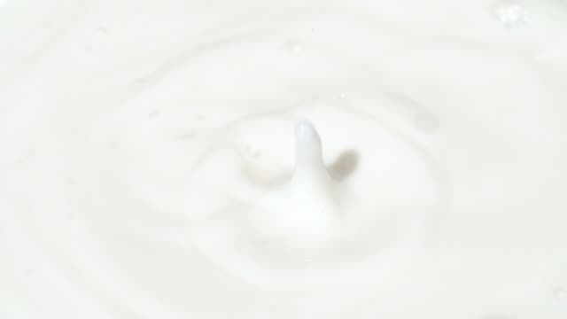 Milk drops in slow motion