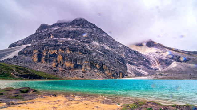 milk lake in peak of snow mountains at yading nature reserve, china. - yunnan province stock videos and b-roll footage