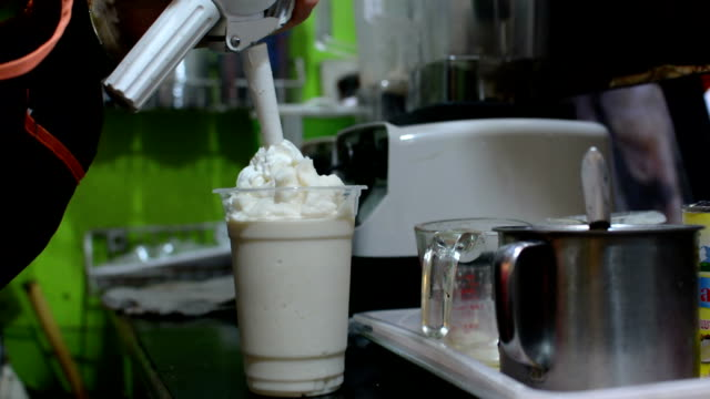 milk smoothie with whipped - whipped food stock videos and b-roll footage