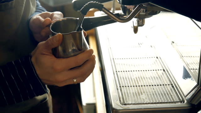 milk steaming - espresso maker stock videos and b-roll footage
