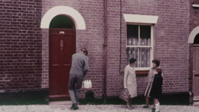 montage milkman delivering to families, and architectural details / exeter, england, united kingdom - doorway stock videos and b-roll footage