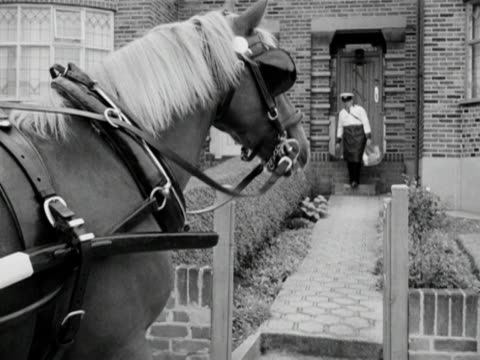 a milkman delivers milk to the doorstep of a suburban house and walks back along the garden path to his awaiting horse - briglia video stock e b–roll