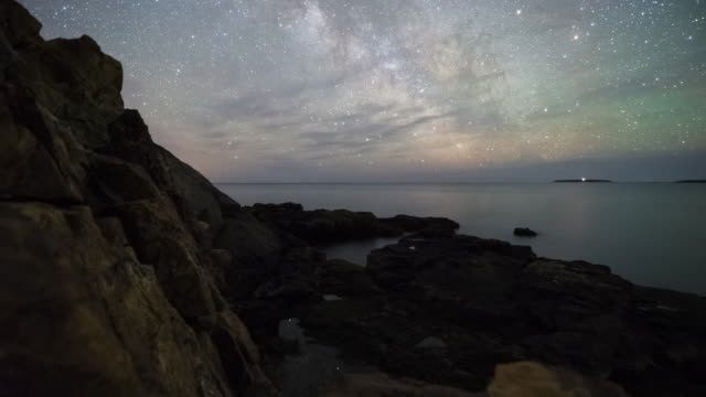milky way and moonrise in acadia national park - tide stock videos & royalty-free footage