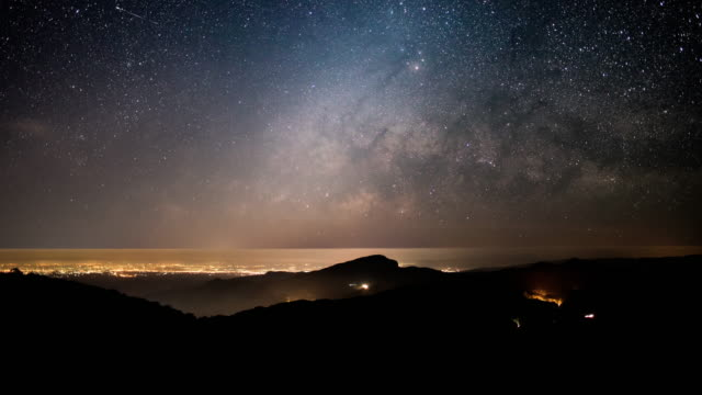 Milky way and star galaxy Time Lapse movement night to sunrise