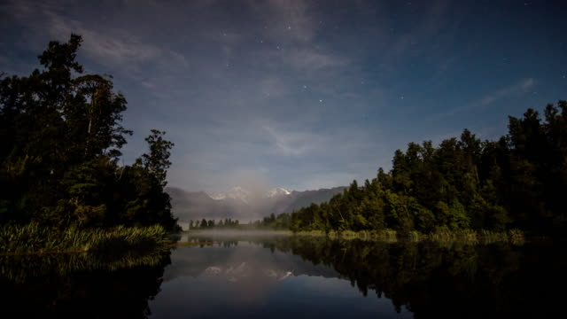 Milky way and star with Mt.cook Time Lapse Movement with mirror reflection lake at lake matheson , west coast , new zealand , Tilt up movement