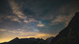 Milky way and starry sky over the Alps, time lapse.