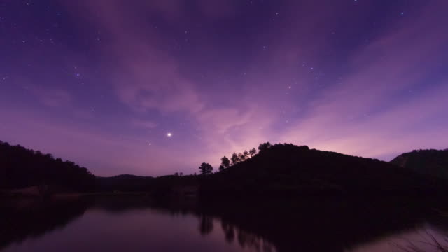 milky way and starry sky scene 4k - purple stock videos & royalty-free footage