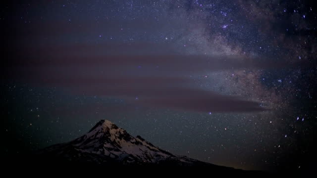 milky way and stars over snowy mountain mt. hood in summer from lost lake butte close - mt hood stock videos & royalty-free footage