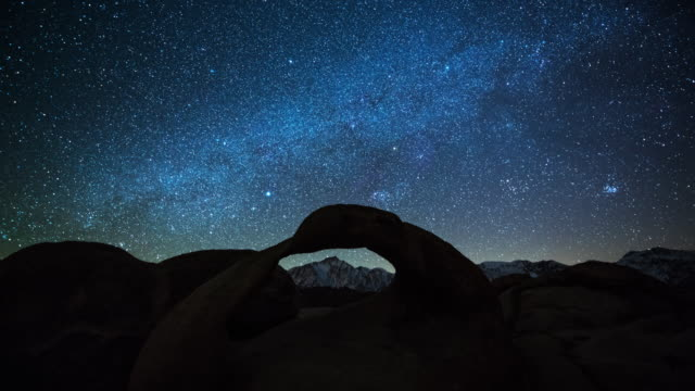 time lapse: milky way and stars over the mobius arch - arch stock videos & royalty-free footage