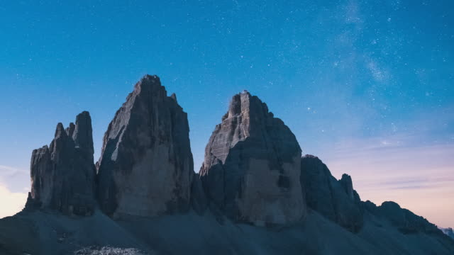 T/L Milky Way and sunrise Timelapse of Tre Cime di Lavaredo in the Dolomites, Italy -  close up