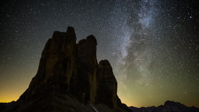 milky way at tre cime of the dolomites (drei zinnen) - space and astronomy stock videos and b-roll footage