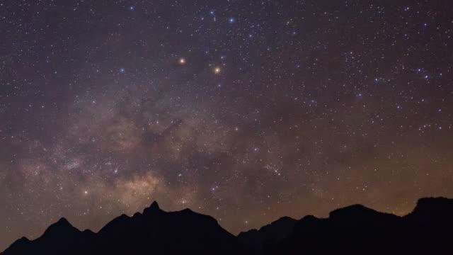 vídeos y material grabado en eventos de stock de vía láctea y silueta de las montañas, doi luang chiang dao, time-lapse video - astrología