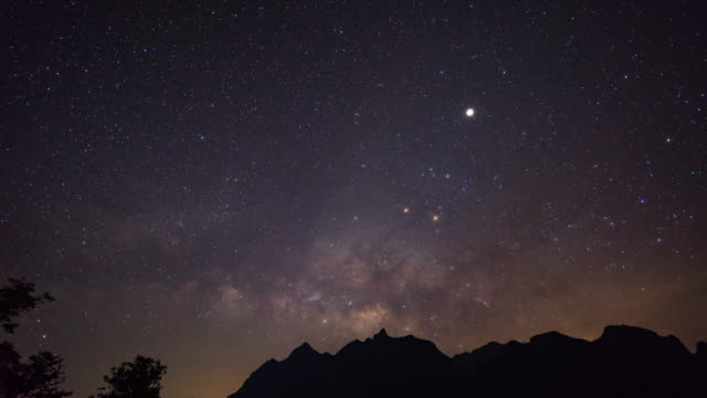 milky way galaxy and silhouette mountains, doi luang chiang dao, time-lapse video - signs of the zodiac stock videos & royalty-free footage
