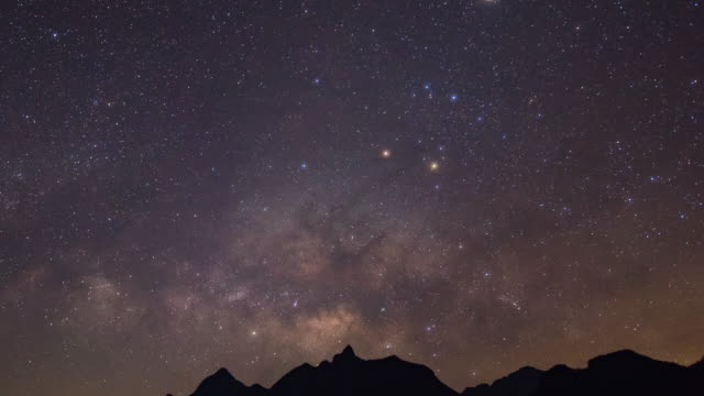 milky way galaxy and silhouette mountains, doi luang chiang dao, time-lapse video - costellazione video stock e b–roll