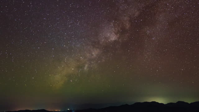 milky way galaxy and silhouette mountains, time-lapse video - star field stock videos & royalty-free footage