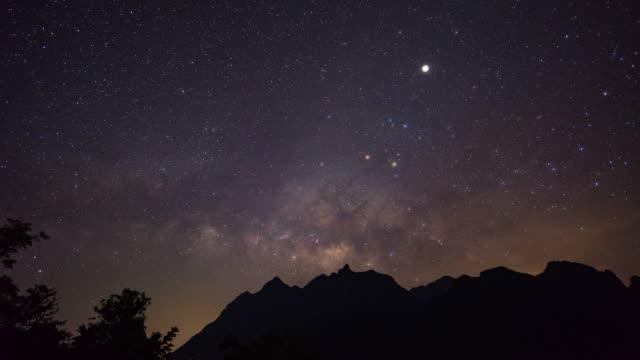 vídeos de stock, filmes e b-roll de via láctea sobre montanhas, lapso de tempo vídeo - chuva de meteoros