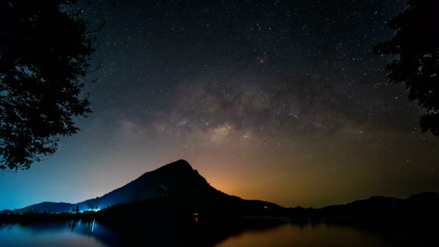 vídeos de stock e filmes b-roll de milky way galaxy over scenic mountain and lake, time lapse video - via láctea