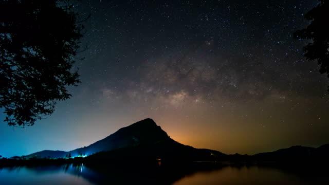vídeos de stock, filmes e b-roll de via láctea sobre scenic montanha e lago, lapso de tempo vídeo - chuva de meteoros