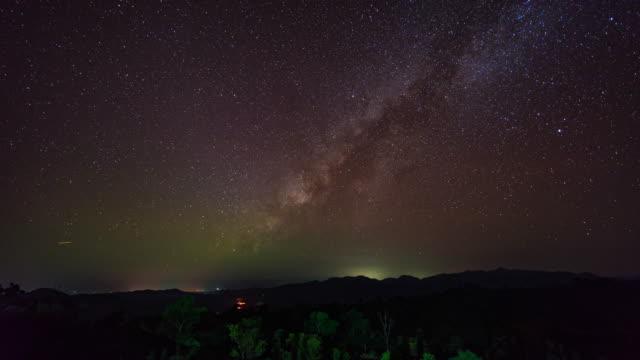 vídeos de stock, filmes e b-roll de galáxia da maneira láctea sobre montanhas da silhueta, vídeo do time-lapse - chuva de meteoros