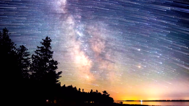 milky way galaxy & star trails during a meteor shower - star trail stock videos & royalty-free footage