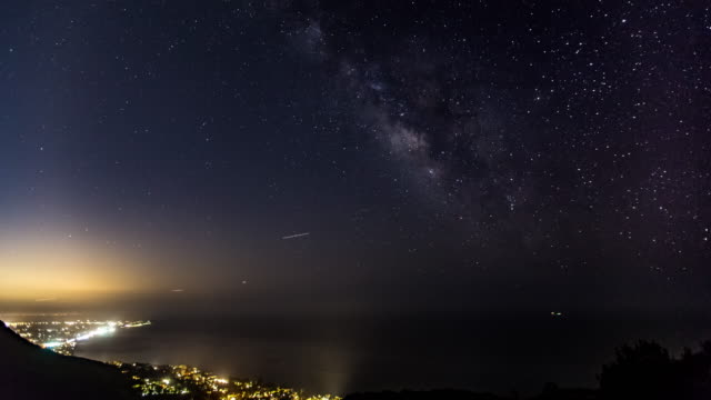 milky way galaxy timelapse over malibu - malibu stock videos and b-roll footage