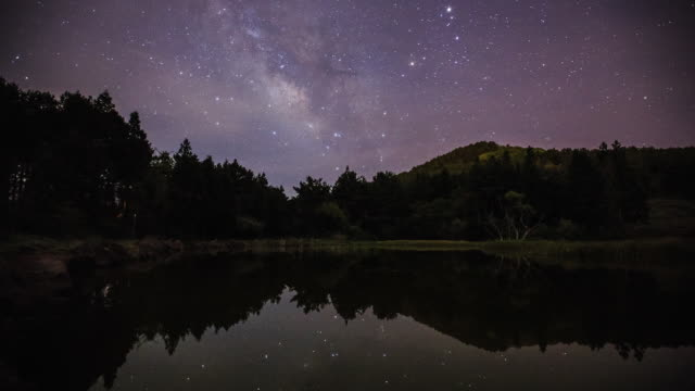 milky way is reflected on a lake in jeju island - galassia video stock e b–roll