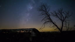 Milky Way, Mars and Stars with Dead Burned Tree California Desert Timelapse