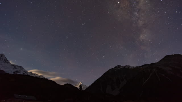 milky way mount cook, new zealand, time lapse video - astronomy stock videos & royalty-free footage