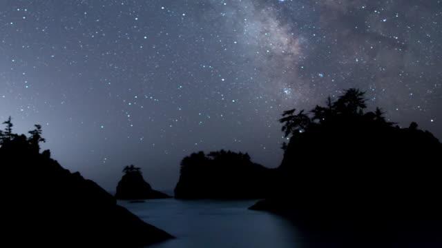 stockvideo's en b-roll-footage met melkweg nachtelijke hemel - boven de zee stack eilanden op de kust van oregon - melkweg