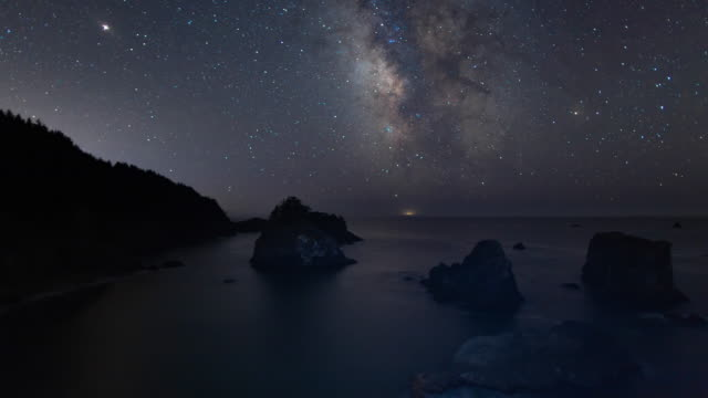 milky way night sky - above the sea stack islands on the oregon coast - astronomia video stock e b–roll