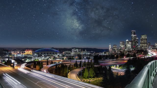 milky way night sky over downtown seattle city skyline - puget sound stock videos & royalty-free footage