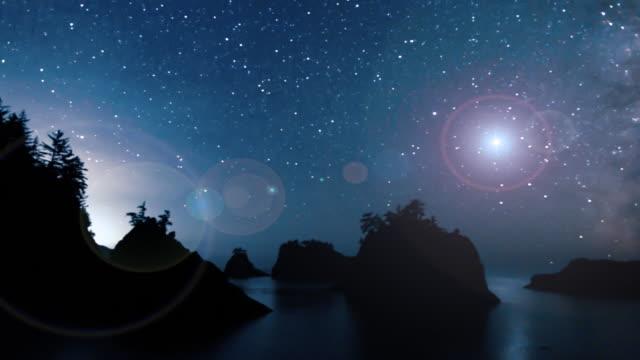 vídeos y material grabado en eventos de stock de cielo nocturno de vía láctea sobre la costa de oregón - costa de oregón