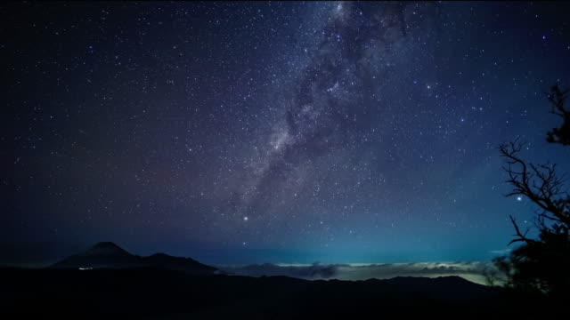 milky way on night sky over bromo volcano mountain at east java, indonesia. - wide stock videos & royalty-free footage