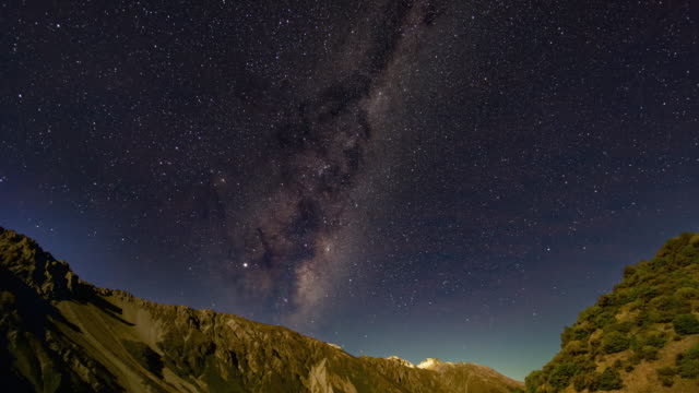 milky way over aoraki mount cook, time lapse video - valley stock videos & royalty-free footage